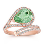 Pear-Shaped Green Sapphire and Round Diamond Ring in Rose Gold