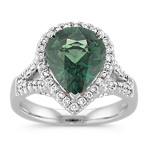 Pear Shaped Green Sapphire and Round Diamond Ring in White and Rose Gold