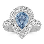 Pear-Shaped Ice Blue Sapphire and Round Diamond Ring with Milgrain Detail