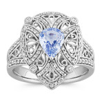 Pear-Shaped Ice Blue Sapphire and Round Diamond Vintage Ring