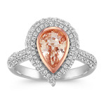 Pear-Shaped Peach Sapphire and Round Diamond 14k Rose and White Gold Ring