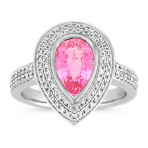 Pear Shaped Pink Sapphire and Diamond Halo Ring with Pavé-Setting