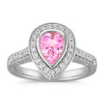 Pear Shaped Pink Sapphire and Round Diamond Ring with Bezel-Setting