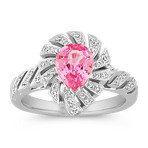 Pear Shaped Pink Sapphire and Round Diamond Ring with Pavé-Setting
