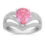 Pear-Shaped Pink Sapphire and Round Diamond Ring