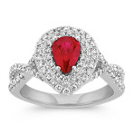 Pear-Shaped Ruby and Diamond Double Halo Fashion Ring