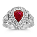 Pear-Shaped Ruby and Diamond Halo Ring with Split Shank