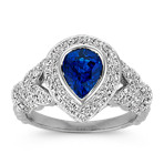 Pear-Shaped Traditional Sapphire and Round Diamond Ring