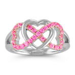 Pink Sapphire Intertwined Triple Heart Ring in Sterling Silver