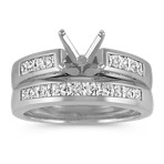 Princess Cut Classic Cathedral Platinum Wedding Set