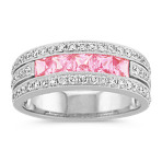 Princess Cut Pink Sapphire and Round Diamond Band