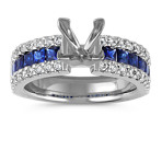 Princess Cut Sapphire and Round Diamond Engagement Ring