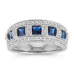 Princess Cut Traditional Sapphire and Round Diamond Ring in 14k White Gold