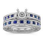 Princess Cut Traditional Sapphire and Round Diamond Wedding Set