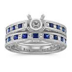 Princess Cut Traditional Sapphire and Round Diamond Wedding Set