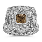 Radiant Cut Cognac Sapphire and Round Diamond Ring