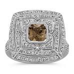 Radiant Cut Cognac Sapphire and Round Diamond Ring