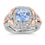 Radiant Cut Ice Blue Sapphire and Round Diamond Ring in White and Rose Gold