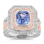 Radiant Cut Kentucky Blue Sapphire and Diamond Ring in White and Rose Gold