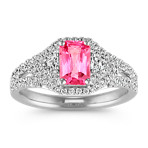 Radiant Cut Pink Sapphire, Trillion and Round Diamond Ring