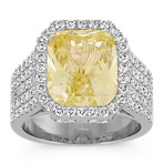 Radiant Cut Yellow Sapphire and Round Pavé-Set Diamond Ring