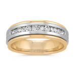 Round and Baguette Diamond Ring in 14k White and Yellow Gold (7mm)