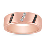 Round Black Sapphire and Diamond Men's Ring in Rose Gold