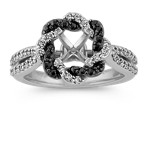 Round Black Sapphire and Round Diamond Braided Twist Halo Engagement Ring