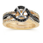 Round Black Sapphire and Round Diamond Wedding Set in 14k Yellow Gold