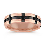 Round Black Sapphire Ring in Rose Gold with Black Ruthenium