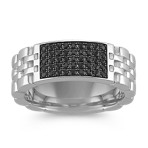 Round Black Sapphire Ring
