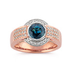 Round Blue Green Sapphire and Diamond Ring in 14k Rose and White Gold