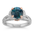 Round Blue Green Sapphire and Round Diamond Ring in 14k White and Rose Gold