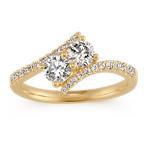 Round Diamond 14k Yellow Gold Swirl Ring