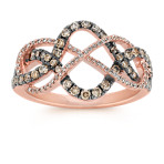 Round Diamond and Brown Diamond Ring in 14k Rose Gold