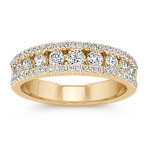 Round Diamond Channel-Set Classic Wedding Band in 14k Yellow Gold