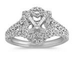 Round Diamond Floral Halo Split Shank Engagement Ring