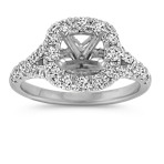 Round Diamond Halo Split Shank Engagement Ring