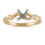 Round Diamond Infinity Engagement Ring in 14k Yellow Gold