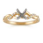 Round Diamond Infinity Engagement Ring in 14k Yellow Gold