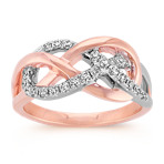 Round Diamond Infinity Ring in 14k Rose Gold and Sterling Silver