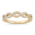 Round Diamond Infinity Swirl Wedding Band in 14k Yellow Gold