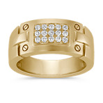 Round Diamond Men's Ring in 14k Yellow Gold (10mm)