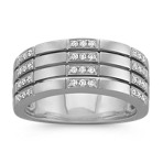 Round Diamond Multi-Band Design Ring in 14k White Gold