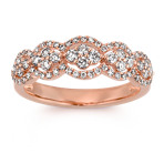 Round Diamond Ring in 14k Rose Gold with Pavé-Setting