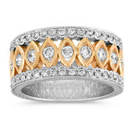 Round Diamond Ring in 14k Two-Tone Gold