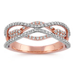 Round Diamond Swirl Ring in Rose and White Gold
