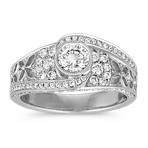 Round Diamond Swirl Ring with Center Bezel-Set Diamond