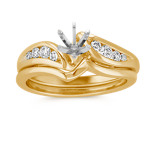 Round Diamond Swirl Wedding Set with Channel-Setting