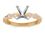 Round Diamond Vintage Engagement Ring in 14k Yellow Gold